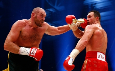 Tyson Fury, left, took the heavyweight boxing title from Wladimir Klitschko.