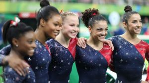 U.S. women's gymnastics team: Let's all celebrate at the mall, girls.